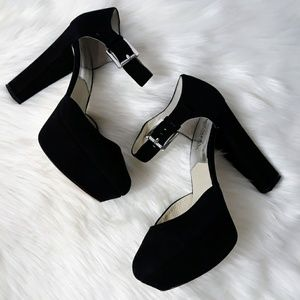 Michael Kors Black Suede Leather Block Heel Pumps